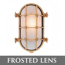 Large Oval Bulkhead Wall Light - Brass/Frosted Lens