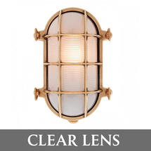 Large Oval Bulkhead Wall Light - Brass/Clear Lens