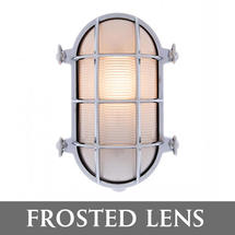 Large Bulkhead Wall Light - Chrome/Frosted Lens