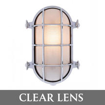 Large Bulkhead Wall Light - Chrome/Clear Lens