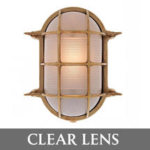 Extra Large Oval Bulkhead - Brass/Clear Lens