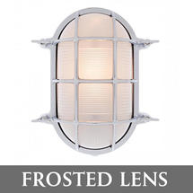 Extra Large Oval Bulkhead - Chrome/Frosted Lens