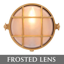 Small Round Bulkhead - Brass/Frosted Lens