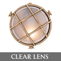 Medium Round Bulkhead - Brass/Clear Lens