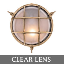 Large Round Bulkhead - Brass/Clear Lens
