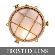 Medium Bulkhead - Brass with External Fixing Legs/Frosted Lens