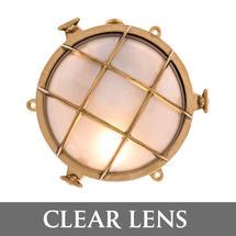 Medium Bulkhead - Brass with External Fixing Legs/Clear Lens
