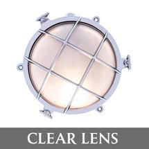 Medium Bulkhead - Chrome with External Fixing Legs/Clear Lens