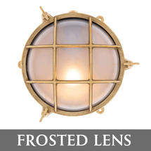 Large Bulkhead - Brass with External Fixing Legs/Frosted Lens