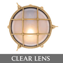 Large Bulkhead - Brass with External Fixing Legs/Clear Lens