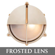 Large Bulkhead with Split Shade - Brass with External Fixing Legs/Frosted Lens