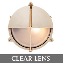 Large Bulkhead with Split Shade - Brass with External Fixing Legs/Clear Lens