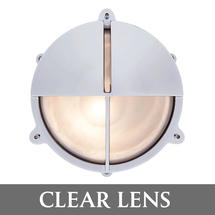 Large Bulkhead Split Shade - Chrome with External Fixing Legs/Clear Lens
