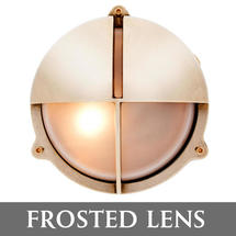 Medium Bulkhead with Split Shade - Brass/Frosted Lens