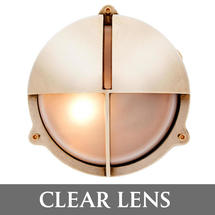 Medium Bulkhead with Split Shade - Brass/Clear Lens
