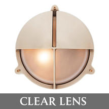 Large Bulkhead with Split Shade - Brass/Clear Lens