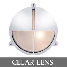 Large Bulkhead with Split Shade - Chrome/Clear Lens