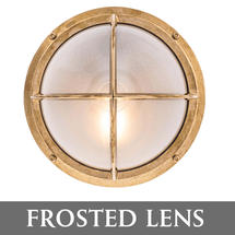 Round Bulkhead with Cross Grille - Brass/Frosted Lens