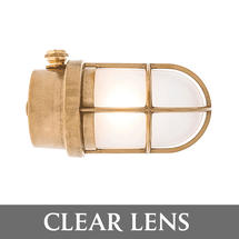 Grille Lamp - Brass/Clear Lens