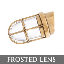 Angled Grille Lamp - Brass/Frosted Lens