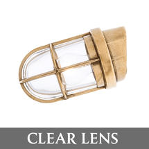 Angled Grille Lamp - Brass/Clear Lens