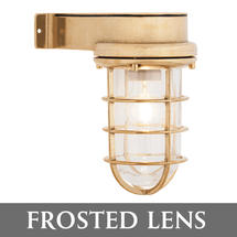 Bulkhead Light with Side Arm - Brass/Frosted Lens