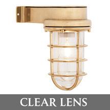 Bulkhead Light with Side Arm - Brass/Clear Lens