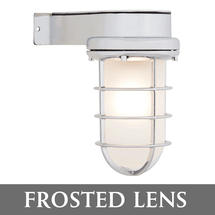 Bulkhead Light with Side Arm - Chrome/Frosted Lens