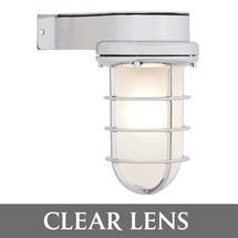 Bulkhead Light with Side Arm - Chrome/Clear Lens