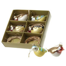 Set of 6 Hanging Glass Partridges Tree Decorations