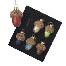 Glass Acorn Baubles - Boxed Set of 6