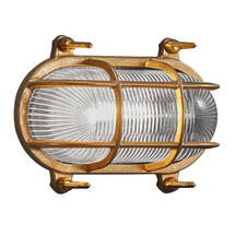 Helford Oval Bulk Head Outdoor Light - Brass