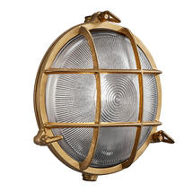 Polperro Round Bulk Head Outdoor Light - Brass