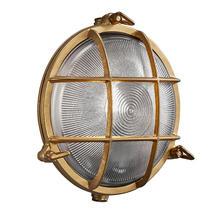 Polperro Round Bulk Head Outdoor Light - Brass