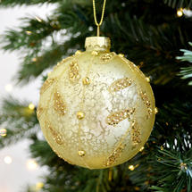 Champagne Gold Fern Glass Bauble