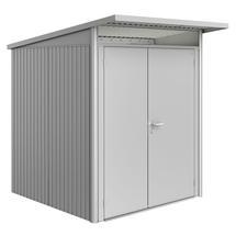 Garden Shed AvantGarde - Size A1 with Slim Double Door - Metallic Silver