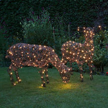 Outdoor Wicker LED Pair of Sheep