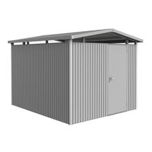 Garden shed Panorama size P5 with standard door - Metallic silver