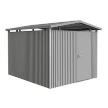 Garden shed Panorama size P5 with standard door- Metallic quartz grey