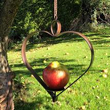 Copper Heart Apple Bird Feeder - Antique Copper