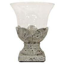 Stone Leaf Hurricane Lamp