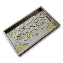 Mirrored Serving Tray - Damask