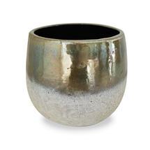 Green Gold Dip Glazed Stoneware Planter - Medium