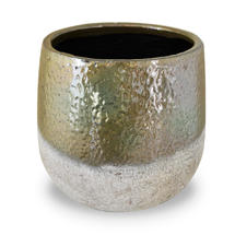 Green Gold Dip Glazed Stoneware Planter - Large