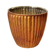 Vintage Ribbed Beaker Votives - Old Gold