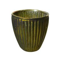 Small Vintage Ribbed Beaker Votive - Matt Dark Green