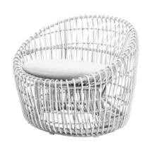 Nest Outdoor White Round Chair - White Cushions