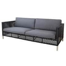 Connect Lounge 3 Seater Sofa - Black / Anthracite Weave