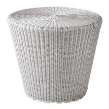 Kingston Woven Small Stool / Side Table - White Grey