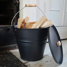 Fireside Bucket with Lid and Kindling Wood